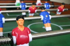 Football table. (Soccer Table) with closeup of red player Royalty Free Stock Photos