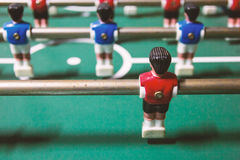 Football table game. Closeup player of a football table game Royalty Free Stock Image