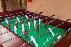 Football table game. Football or soccer table game with wooden color white and black Royalty Free Stock Images