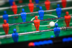 Football table game. Football Soccer table game with blue and red players Royalty Free Stock Photo