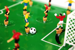Football table toy. Game closeup Royalty Free Stock Photos