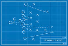 Football tactic on blueprint Stock Images