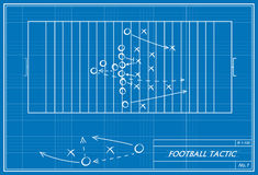Football tactic on blueprint Royalty Free Stock Images