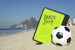 Football Tactics Board Soccer Ball Rio. Football tactics board with soccer ball on Ipanema Beach Rio de Janeiro Brazil Stock Photos