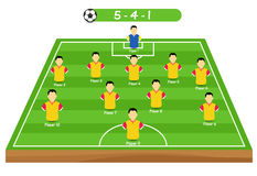 Football tactics and strategy - popular 5-4-1 team formation. Stock Images