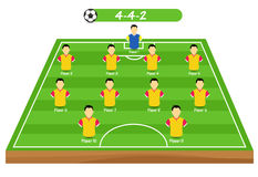 Football tactics and strategy - popular 4-4-2 team formation. Stock Photography