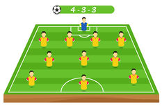 Football tactics and strategy -  team formation. Royalty Free Stock Photo