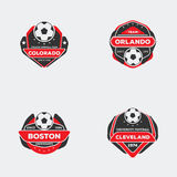 Football team badge. Set of football soccer team emblem. Sport team logo with ball red and black color ready for printing on shirt Royalty Free Stock Images