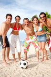 Football team at the beach Royalty Free Stock Photography