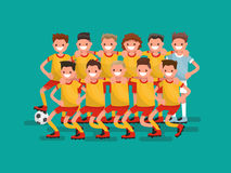 Football team. Eleven players together. Vector illustration. Flat design Stock Image