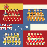 Football team and flag Royalty Free Stock Photography