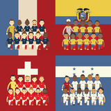 Football team and flag Royalty Free Stock Photos