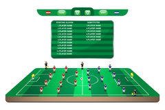 Football team formation player in mini soccer field Royalty Free Stock Images