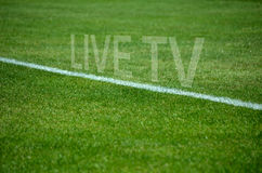 Football Team live tv on grass with white lane Royalty Free Stock Image