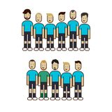 Football team, players with different hairstyles and growth. Football team, minimal line art style, players with different hairstyles and growth Stock Photography
