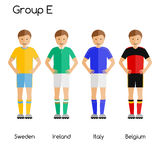 Football team players. Group E - Sweden, Ireland, Italy and Belgium. Royalty Free Stock Photography