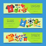 Football team supporter set of banners vector illustration. Soccer sport fan attribute, rooter buff man accessories and