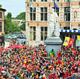Football team supporters watch football match on big screen in Halle Stock Photo