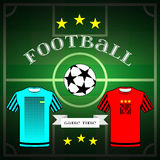Football team wear and champion league ball Stock Photos