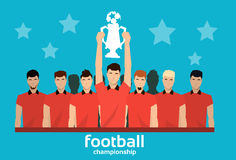 Football Team Winner With Cup Royalty Free Stock Photos