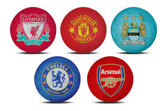 Football teams. Football club team signs on white background Royalty Free Stock Photos