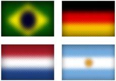 Football teams vector cell flags. Set of vector cell flags of top football teams Stock Images