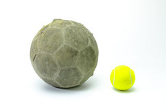 Football with tennis ball on background Stock Photos