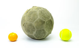 Football with tennis ball and oranges isolated Stock Photo