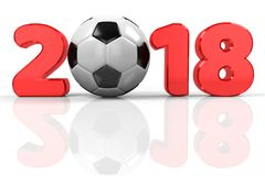 Football 2018. Text 2018 with the soccer ball as 0, 3d rendering Royalty Free Stock Images