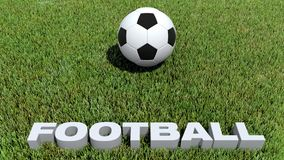Football texte 3D and ball on grass. 3D render Royalty Free Stock Photo