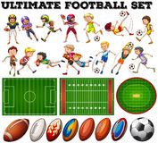 Football theme with players and ball. Illustration Stock Photography