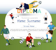 Football themed certificate template Royalty Free Stock Images