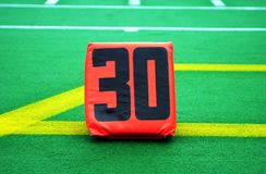 Football Thirty Yard Marker. Football thirty marker for the end zone at a NFL game at the home in Pittsburgh. The photo was taken at the Three River Stadium Royalty Free Stock Photo