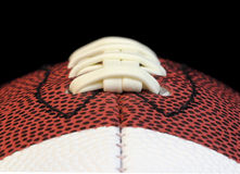 Football Threads Edge on Macro Royalty Free Stock Photo