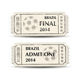 Football tickets retro. A pair of retro style tickets for Brazil 2014 football. EPS10 vector format Stock Images