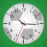 Football time. Clock with ball background Stock Photos
