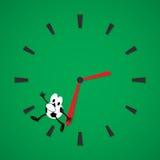Football time run. Cartoon man ball running away from clock Stock Photography