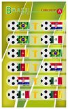 Football Tournament of Brazil 2014 Group A. Brazil 2014 Group A, Flags of 4 Nations of Football or Soccer Championship in Final Tournament at Brazil Stock Image