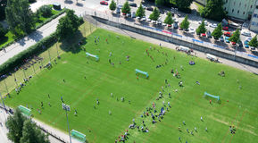 Football tournament. Helsinki, Finland - July 7, 2014: Helsinki Cup - massive international football tournament for youth and children opened on July 7, 2014 Royalty Free Stock Images