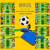2014 Football tournament schedule Brazil vector. Scheme of football tournament matches Brazil 2014 on a yellow background with hexagon elements in blue, yellow Stock Illustration