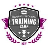 Football training camp emblem. Sports football training camp badge emblem design Royalty Free Stock Photos