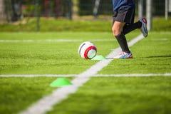 Football training for children. Football soccer futsal training for children Stock Photo