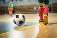 Football training for children. Football soccer futsal training game for children royalty free stock images