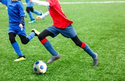 Football training for kids. Boys in blue red sportswear on soccer field. Young footballers dribble and kick ball in game. Training. Active lifestyle, sport royalty free stock photos