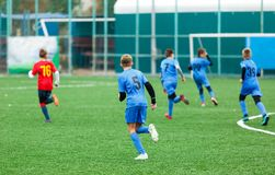 Football training for kids. Boys in blue red sportswear on soccer field. Young footballers dribble and kick ball in game. Training. Active lifestyle, sport stock images