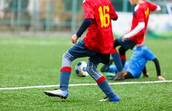 Football training for kids. Boys in blue red sportswear on soccer field. Young footballers dribble and kick ball in game. Training. Active lifestyle, sport stock image