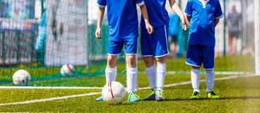 Football Training for Kids. Children`s Soccer Training Session. Soccer Ball Control Games. Young Boys on the Pitch with Balls Stock Photography