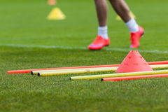 Football training. Proffesional football training with boundary poles Royalty Free Stock Photo