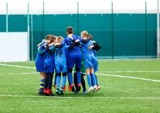 Football training soccer for kids. team before game. Training, active lifestyle, sport, children activity. Concept royalty free stock photography