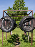 Football training tires stock photo